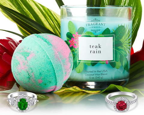 Teak Rain - Candle and Bath Bomb Gift Set