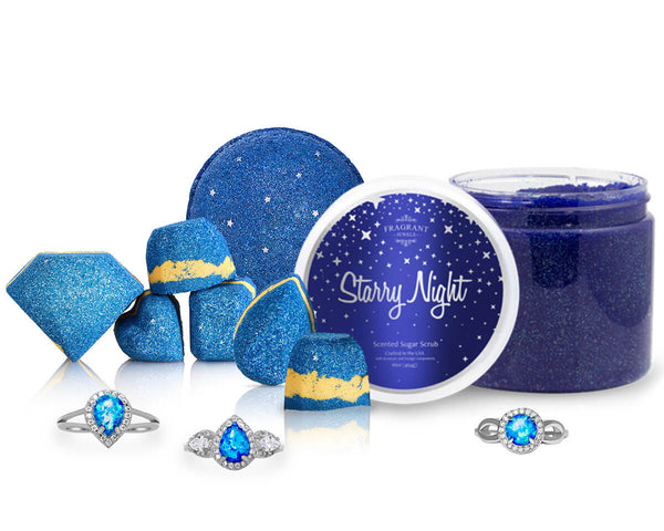 Starry Night Scrub and Bath Bomb with Ring set