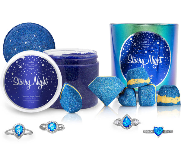 Starry Night Scrub, Candle and Bath Bombs with Ring