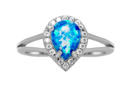 Blue Pear with Halo Ring