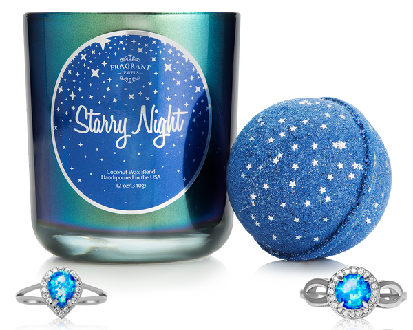 Starry Night Ring Bath Bomb and Ring Candle