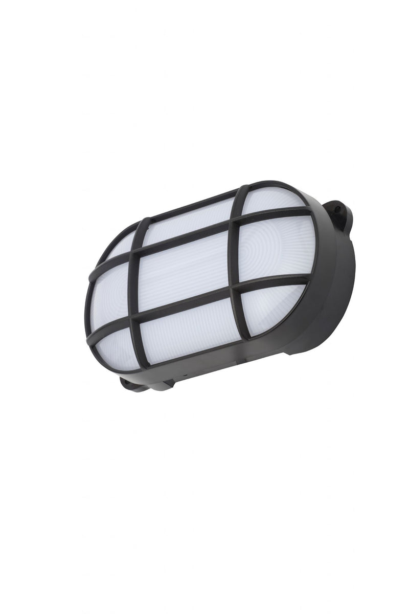 CZ-34026-BLK - Capella Oval Grid Bulkhead, Small in Black Finish