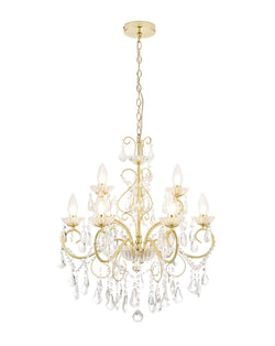 SPA-19714-SBRS - Vela 9 Light Chandelier in Satin Brass Finish