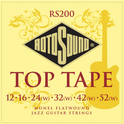 Rotosound RS200 Top Tape Monel Flatwound Jazz 12-52 String Set