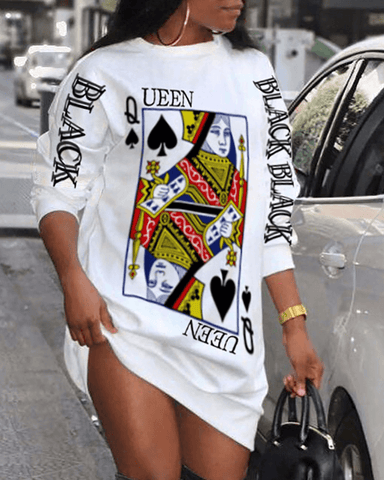Poker Letter Print Long Sleeve Casual Dress JF1042