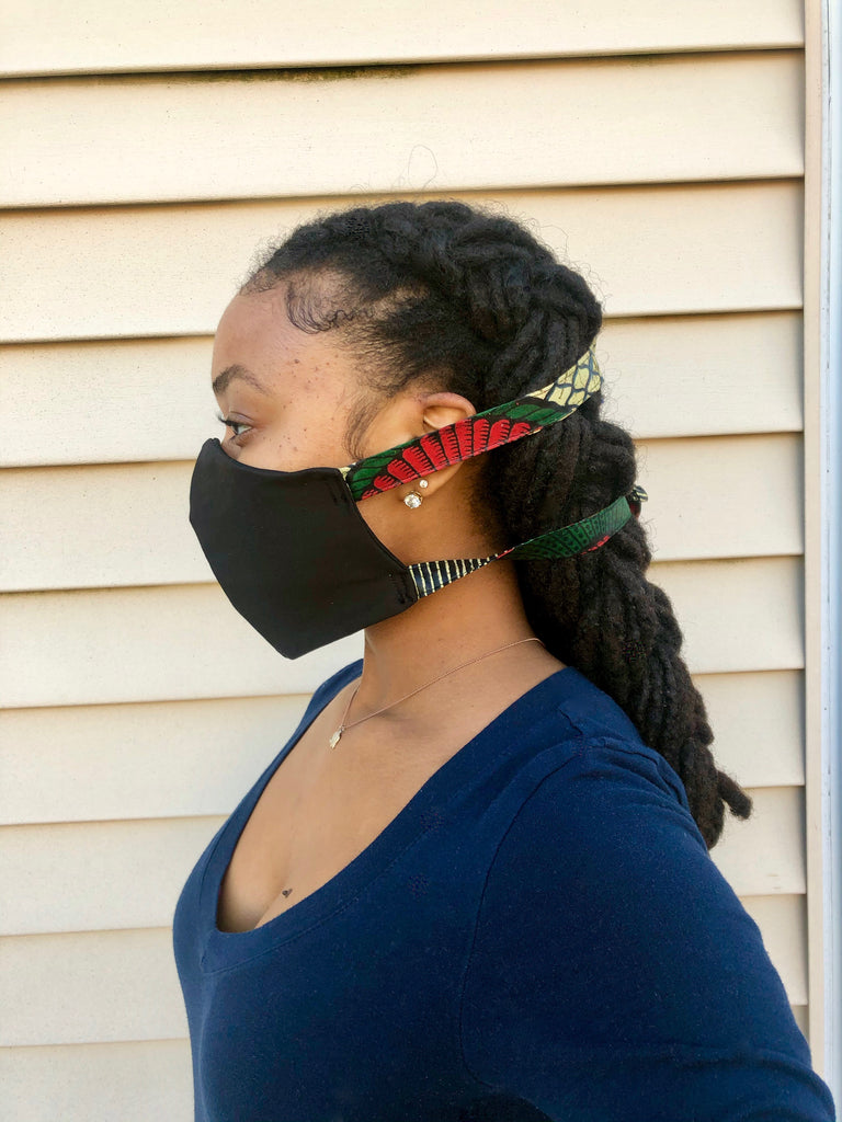 Shelly Black- Tie Back Face Mask