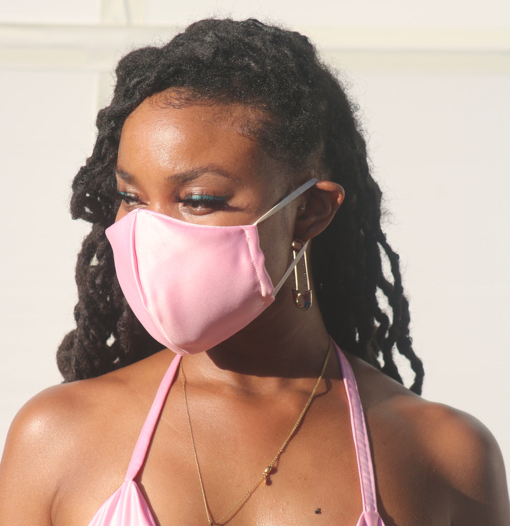 Pink Satin Face Mask