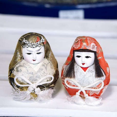 Japanese Matsuyama Hime Daruma Dolls For Good Luck, set of 2 dolls