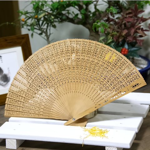 Japanese Antique Hand carved solid wood hand fan, beautiful design