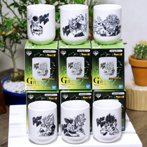 Dragon Ball Japanese tea drinking cups, complete set of 6 cups, Ichiban Kuji