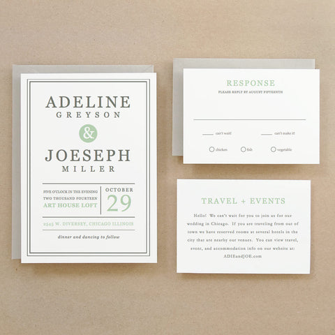 Mint Type Printable Wedding Invitation Template