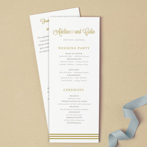 Gold Script Printable Wedding Program Template