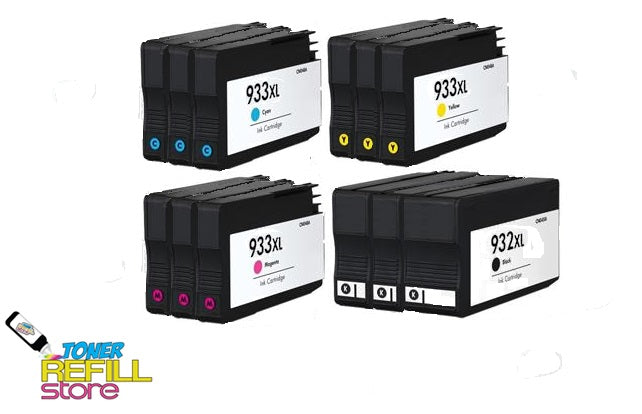 Toner Refill Store Compatible HP 932XL & 933XL 12-Set High Yield Ink Cartridges for Hewlett Packard: 3 Black & 3 each of Cyan - Magenta - Yellow