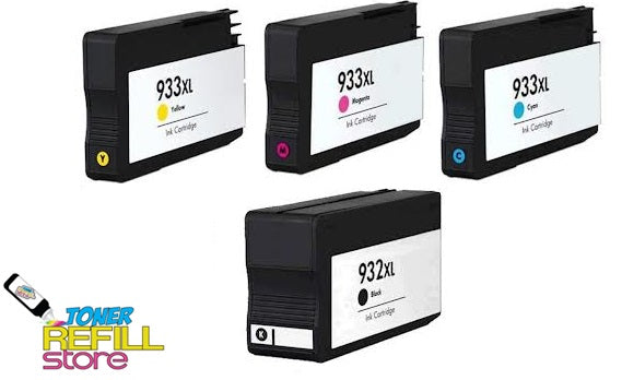 Toner Refill Store Compatible HP 932XL & 933XL 4-Set High Yield Ink Cartridges for Hewlett Packard: 1 Black & 1 each of Cyan - Magenta - Yellow