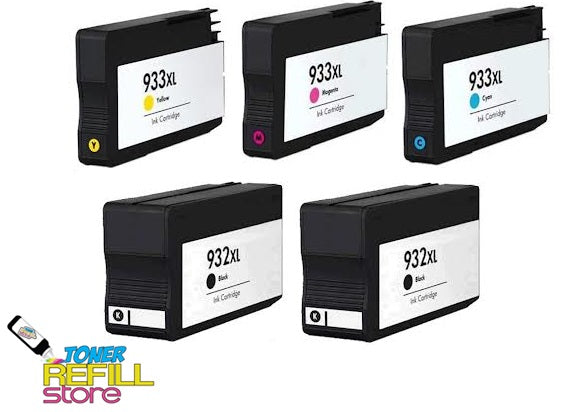 Toner Refill Store Compatible HP 932XL & 933XL 5-Set High Yield Ink Cartridges for Hewlett Packard: 2 Black & 1 each of Cyan - Magenta - Yellow