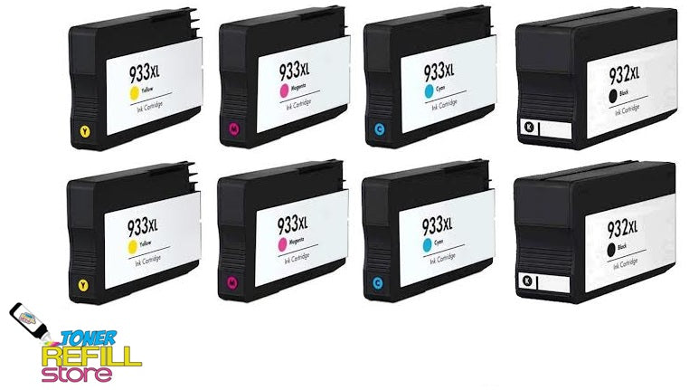 Toner Refill Store Compatible HP 932XL & 933XL 8-Set High Yield Ink Cartridges for Hewlett Packard: 2 Black & 2 each of Cyan - Magenta - Yellow