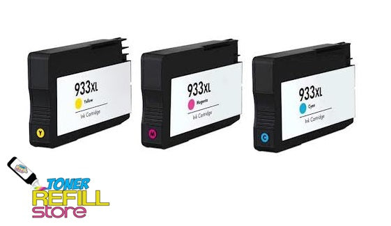 Toner Refill Store Compatible HP 933XL 3-Set High Yield Ink Cartridges for Hewlett Packard: 1 each of Cyan - Magenta - Yellow