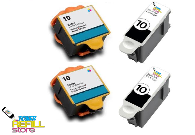 Compatible Kodak #10XL 4-Set Ink Cartridges: 2 Black & 2 Color