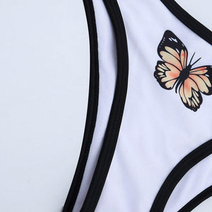 Patchwork siwmsuit women Bandeau sport swimwear women Sexy butterfly print bikini 2020 mujer Summer beach bathing suit | akolzol