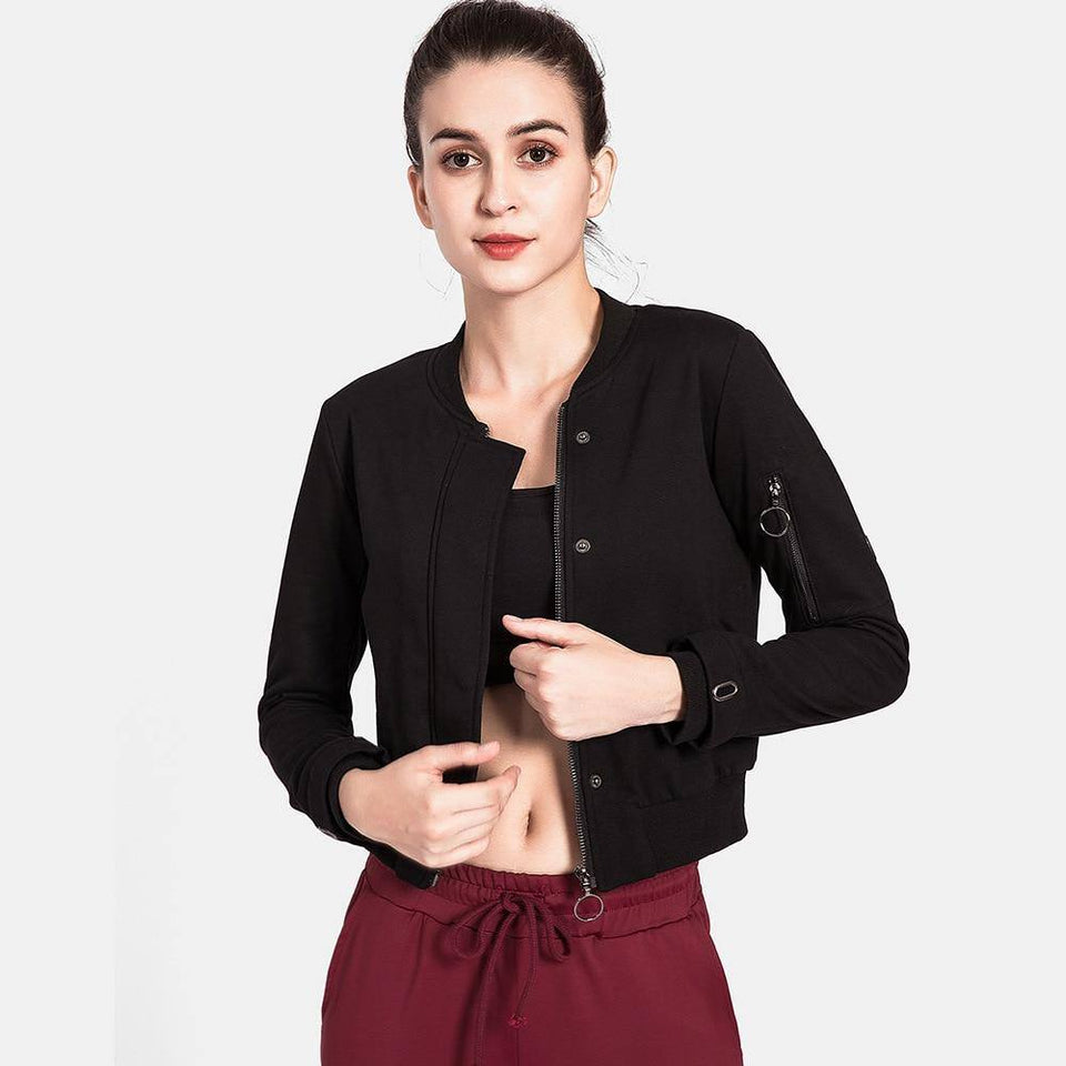 Running Jacket Women Long Sleeve Zipper Fitness Yoga Shirt Top Workout Gym Activewear Sport Coats Training Quick Dry | akolzol