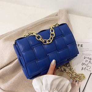 Luxury Weave Crossbody Bags for Women 2021 Fashion Quality Pu Leather Chain Woven Shoulder Bag Female Designer Handbag and Purse | akolzol