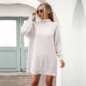 Autumn Winter Half Turtleneck Knitted Dress Women Casual Lantern Sleeve Solid Color Short Dress For Women 2020 New Fashion | akolzol