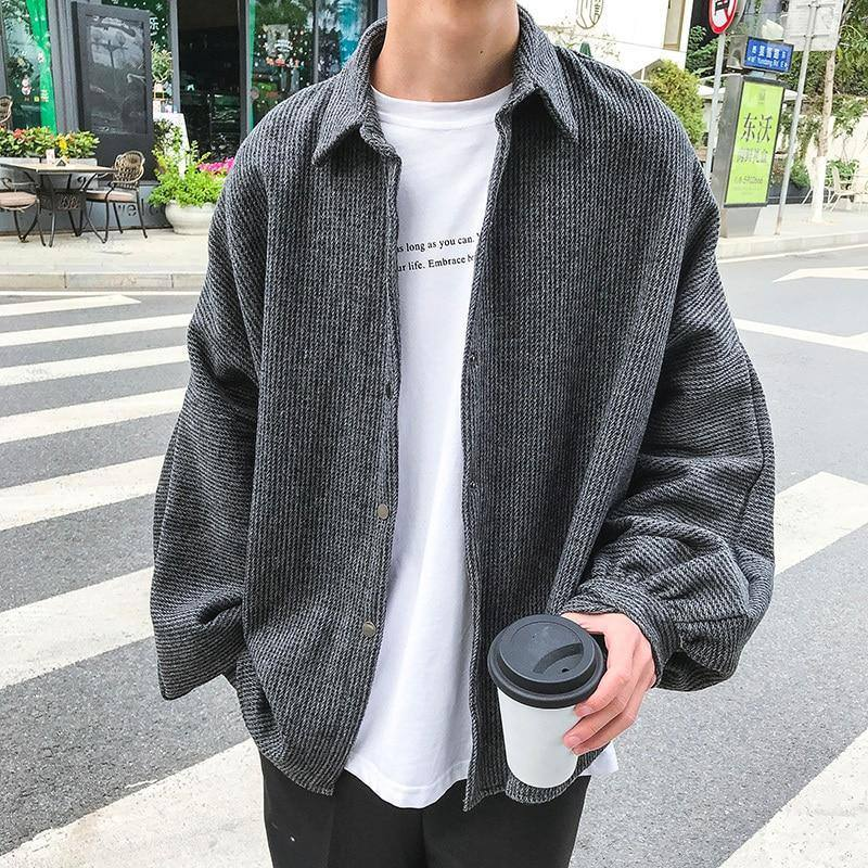 2020 Spring And Autumn New Korean Version Of The Loose Trend Long-sleeved Fashion Casual Solid Color Simple Shirt Black M-2XL | akolzol