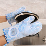 Thickened cotton double layer silicone gloves microwave oven baking cotton gloves | akolzol