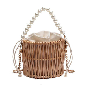 Beading Chain Summer Small Straw Shoulder Bags For Women Rattan Weave Travel Beach Bucket Bag Women's Fashion Crossbody Handbags (Khaki 16cmx16cmx14cm) | akolzol