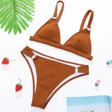 Sexy ribbed high waist bikini set Triangle micro swimsuit Solid ring swimwear women Sport backless bathing suit Beachwear | akolzol