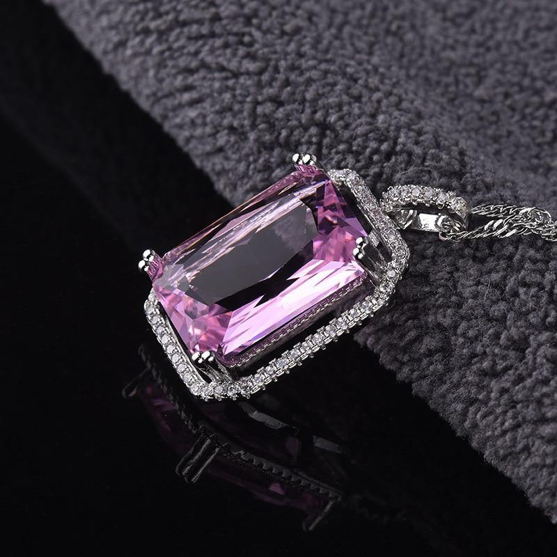 Real Silver 925 Jewelry Necklace Natural Amethyst Pendant Gemstone 100% 925 Sterling Silver Pierscionki Joyas Collares Naszyjnik (Violet) | akolzol