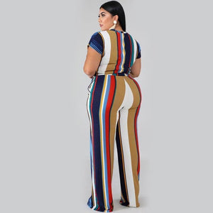 2020 Plus Size Tracksuits Two Piece Set Women Two Piece Outfits Oversized Striped Tracksuit Women 5XL Tight Pant Suit Print | akolzol