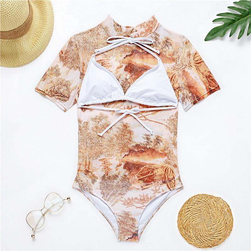 Sexy see through mesh swimsuit monokini women Transparent one piece suit swimwear Triangle halter bodysuit bathing suit | akolzol