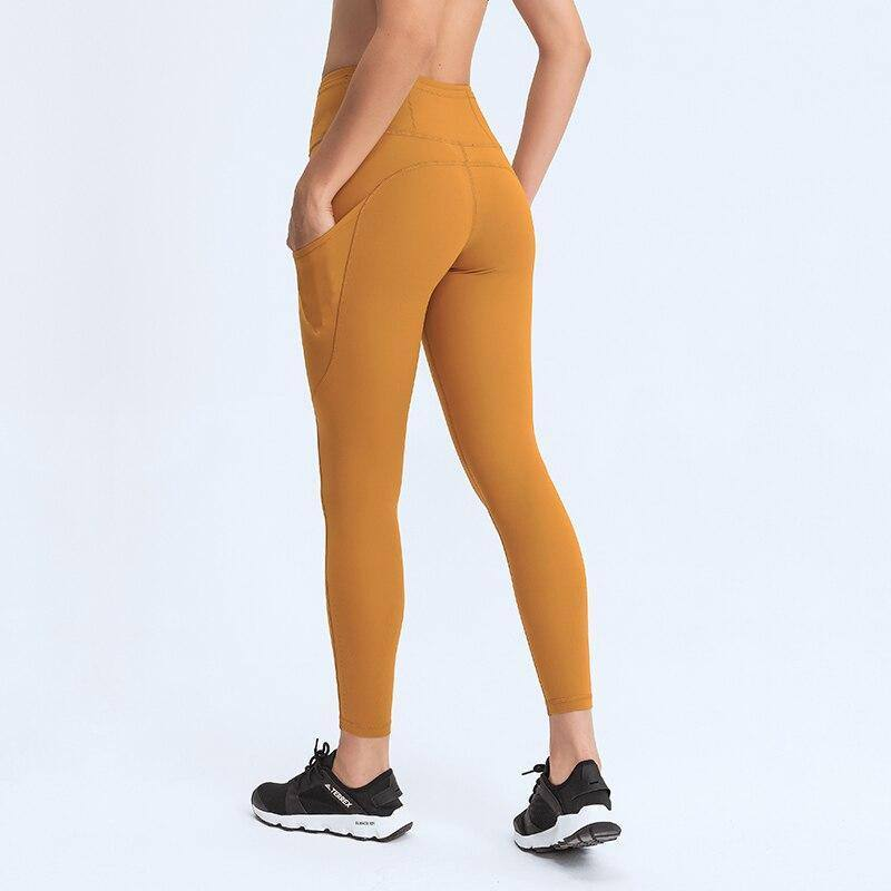 High Waist Buttery Soft Side Pocket Gym Yoga Pants For Women Squat Proof Compression Workout Running Sport Leggings 25 inches | akolzol