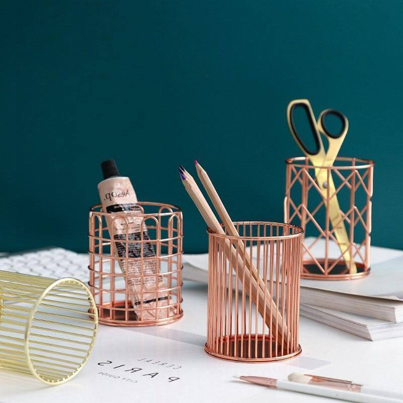 Nordic Makeup Organizer Basket Rose Gold Iron Art Eyeliner Brush Set Storage Cup Dressing Makeup Cosmetic Table  Organizer Box | akolzol