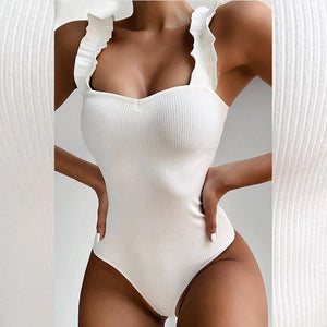 High cut bodysuits one-piece swimsuit female Ruffle bathing suit White swimwear women bikinis 2020 mujer Sexy monokini | akolzol