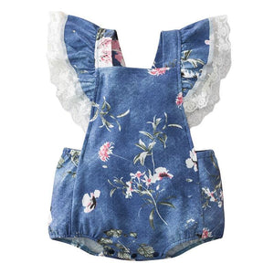 Summer Newborn Baby Girl Short-sleeved Bodysuit Cotton Knitted Denim Lace Decoration Sweet Flying Sleeves Jumpsuit Clothes | akolzol