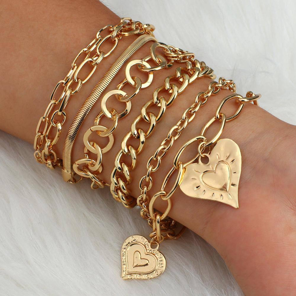Trendy Gold Color Charm Bracelets for Women Geometric Metal Chunky Thick Coin Chain Bracelet Women Couple Hot Jewelry | Bracelet, Bracelets, Chain, Charm, Chunky, Coin, Color, Couple, Flashbuy, for, Geometric, Gold, Hot, Jewelry, Metal, Thick, Trendy, Women | akolzol