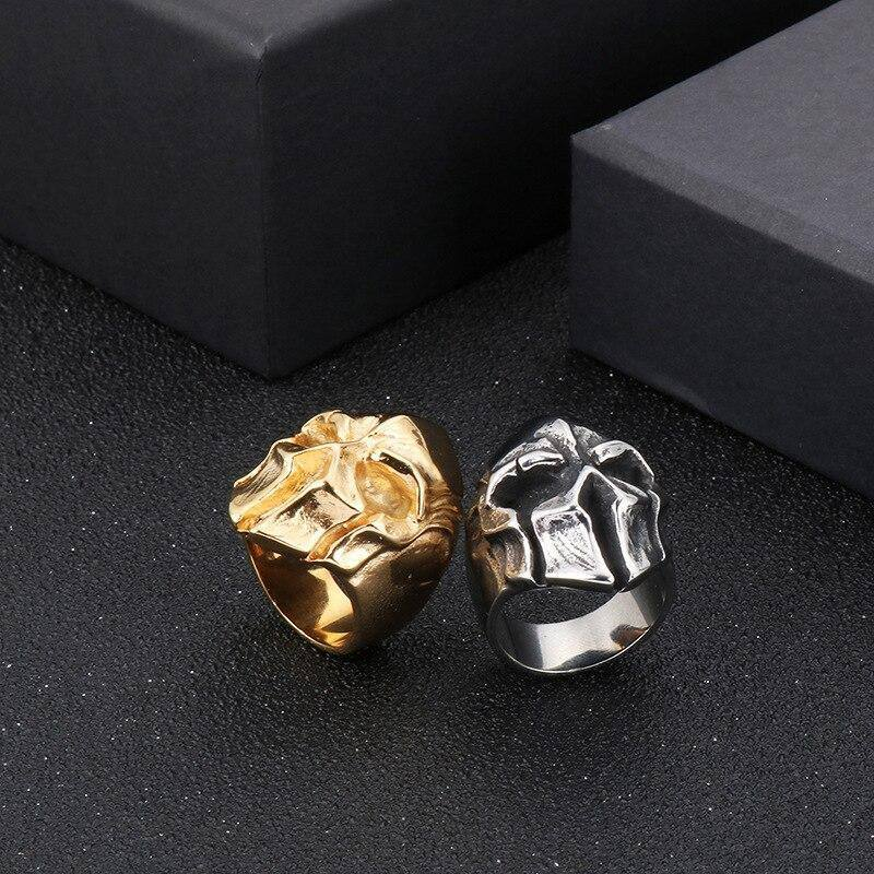 European and American stainless steel men's ring punk retro skull ring jewelry | akolzol