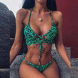 Lace up bathing suit Halter swimsuit female Leopard print bikini set High cut swimwear women 2020 Sexy summer bathers new | akolzol