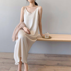 New Arrival Women V-Neck Sleeveless Women Vintage Satin Summer Long Dress Boho Elegant Women Casual Dress Vestidos | akolzol