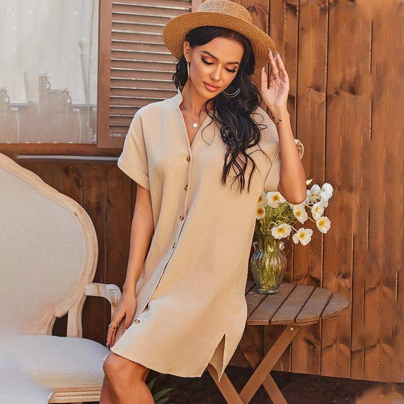 Fashion Spring Solid Single Breasted Dress Women Casual Short Sleeve Loose Dress For Woman 2021 New Summer High Waist Dress | akolzol