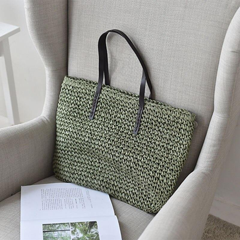 Fashion Straw Woven Handbag Summer Travel Beach Shoulder Bags for Women Casual Female Large Capacity Totes | akolzol