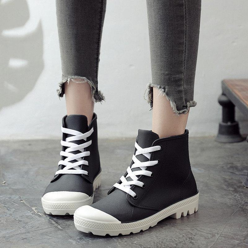 Women Rainboots Lace-up Waterproof Girls Ankle Boots PVC Anti-slip Spring Autumn Rain Shoes Woman Fashion Botas Mujer | akolzol
