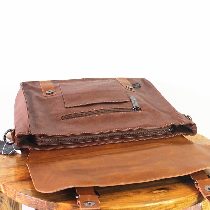 Japanese and Korean Fashion Business Men's Handbag Retro Casual Leather Briefcase Laptop Bags for Men Shoulder Messenger Bag | akolzol