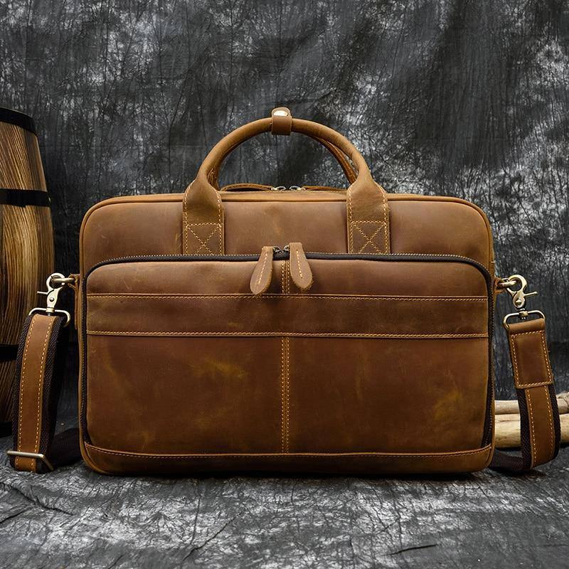 Crazy Horse Leather Men Briefcase Genuine Leather Laptop Bag 15.6