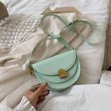 Elegant Small PU Leather Saddle Bags For Women 2020 New Fashion Wild Shoulder Handbags Female Solid Color Simple Crossbody Bag | akolzol