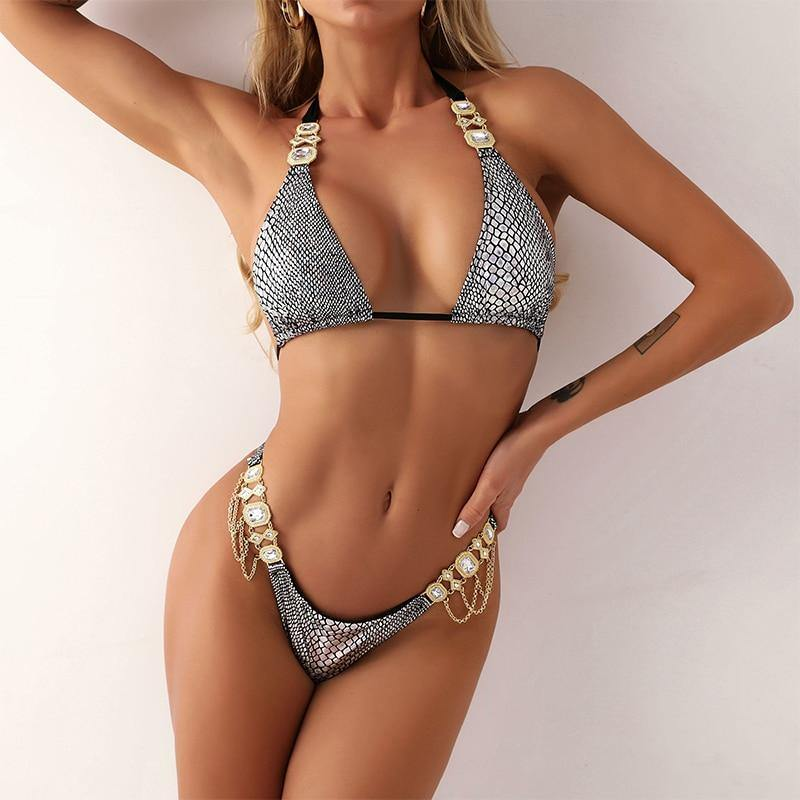 Shiny halter swimsuit Snake print bikini set Diamond high cut swimwear women Sexy micro bathing suit Triangle beach wear | akolzol