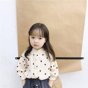 Girls cotton yarn soft dot puff sleeve shirts baby girl 2 colors casual all-match tops clothing | akolzol