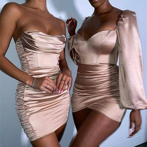 Sexy Slash Neck Off Shoulder Corset Dress Ladies Backless Ruched Bodycon Club Outfits for Women Satin Red Green khaki Mini Dress | akolzol